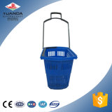 Panier à provisions en plastique de roues du roulement quatre de supermarché de fabrication