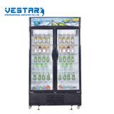 Vitrine verticale du refroidisseur de boissons avec double porte en verre