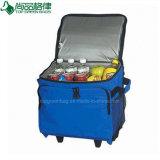 Kundenspezifischer beweglicher Isolierpicknick-Laufkatze-Walzen-Wein-Kühlvorrichtung-Beutel mit Rädern