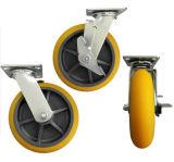 """Hochleistungs8 """" Spitzenplatten-Fußrolle PU-Räder für industrielles Gerät"""