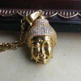 18K 이탈리아 금 종교적인 Buddha 매력 펜던트 Mjhp014