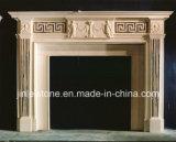 Mantels de marbre blancs antiques en pierre normaux de cheminée pour la pièce