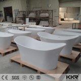 Bañera libre barata de piedra de mármol artificial blanca para la venta