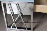 Muebles de la sala de estar del soporte de la tapa TV del vidrio Tempered de la base del acero inoxidable de los cajones de madera sólida