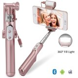 Fábrica original de Bluetooth Selfie Stick todo el día con luz de flash LED