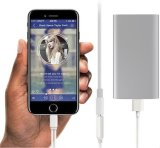 2 em 1 carga móvel que coneta para o cabo do áudio do adaptador do fone de ouvido do iPhone 7