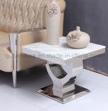 Tableau dinant avec la première base de marbre blanche de ruban de miroir