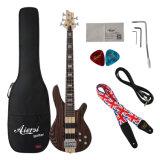 OEM ODMの固体Zebrawoodボディ5ストリング電気ベースギター