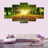 5 [بيس كنفس] فنية طبعة كبيرة ضوء شمس اللون الأخضر أشجار يتمثّل جدار منظر طبيعيّ بيتيّة زخرفة نوع خيش صورة زيتيّة [ن-122]