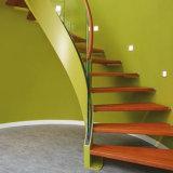 Escalera helicoidal moderna con la pisada de escalera de madera