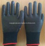 перчатка работы безопасности 10g T/C с черной прокатанной резиной латекса