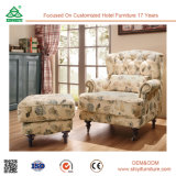 Único sofá da cadeira européia do sofá do estilo com o sofá do único assento da mobília da sala de visitas do pé da madeira contínua