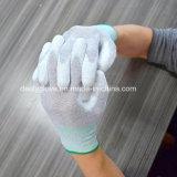 Перчатки ладони ESD подходящие, сделанные PU и волокна нейлона/углерода