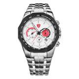 Reloj de manera del Wristband del cuarzo de los ojos de la hebilla tres de la mariposa del acero inoxidable para los hombres