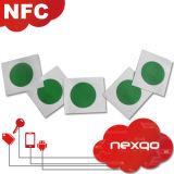 con la etiqueta/la etiqueta engomada programables imprimibles del material ISO14443A RFID NFC Ntag 216 del Anti-Metal para el teléfono
