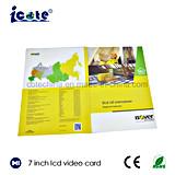 Hardcover 2018 novo da tendência folheto video do Cartão-Vídeo do cumprimento do Cartão-LCD do Cartão-Buiness video do LCD de 7 polegadas