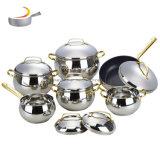 12 Pot Cookware van het Roestvrij staal van de Vorm van de Appel van PCs de Pan Kokende die met het Deksel van de Vorm van G wordt geplaatst