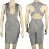 V Stutzen-weißes Verband-Kleid-Partei-Kleid
