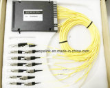 Optische Wdm Mux/Demux van de Vezel van Gpon van de telecommunicatie 16channel Plastic Doos 2.0mm DWDM FC