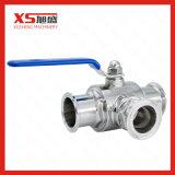 Válvula de esfera 3-Way manual sanitária do Tc do aço inoxidável com baixa plataforma