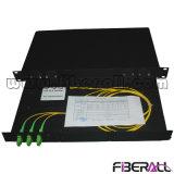 Fibra ótica montado em rack divisor PLC 1X2 carregado com adaptador