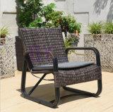 ヨーロッパの屋外のバルコニーの庭の藤の椅子およびコーヒーテーブルのスーツ