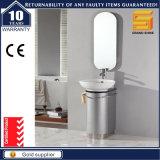 Cabinet de salle de bain à pattes de plancher gris argenté avec bassin en céramique