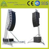 Ein-Geformte LED-fehlerfreie hängende Aluminiumaudiozeile Reihen-Lautsprecher-Standplatz-Binder
