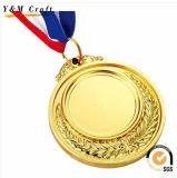 Kundenspezifische Sport-Ehrenpreis-Goldbronzen-Splitter-Medaille mit Farbbändern