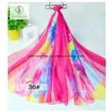 150 * 200cm Hot Sale Chiffon imprimé Shawl Fashion Lady Silk Écharpe