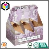 Rectángulo del vino del papel de cartulina acanalada de 6 paquetes con el portador