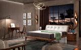 Кровать нового грецкого ореха прибытия нордического двойная и прикроватный столик кудели (HC038)