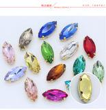 El vidrio de la alta calidad cose en los cristales de la configuración de la garra del Rhinestone para los bolsos (SW-Navette/7*15mm)