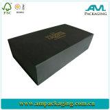 Rectángulo de papel de empaquetado de gota del frente de zapato del rectángulo del negro del estilo gigante del plegado en abanico