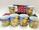 Taza de té de la leche del diseño de la flor del color de la porcelana 11oz con la maneta