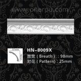 Cornisa del poliuretano de la decoración de la pared de la PU que moldea para el diseño casero Hn-8009X