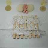 Merletto di nylon di accoppiamenti del fiore di immaginazione della guarnizione del ricamo del poliestere del merletto del nuovo di disegno del commercio all'ingrosso 31cm ricamo di larghezza per l'accessorio degli indumenti & tessile & tende domestiche