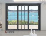 Puerta deslizante del patio de cristal de aluminio con la pantalla