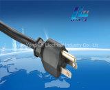 Estilo de EE.UU. de cobre de 3 pins enchufe del cable de extensión Certificado UL