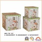 나무로 되는 고대 여행 가방 Fabic 인쇄 저장 상자 선물 상자
