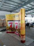 中国によっては展覧会の立場、PVC/Fabricが現れる旗の陳列台が現れる