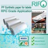 Pressão - papel sintético das etiquetas sensíveis para MSDS Printable giratório UV