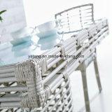 Tabella pranzante quadrata del PE della fabbrica di Foshan della mobilia di vimini bianca del giardino