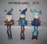 Regalo fornito di gambe della decorazione della molla della Santa, del pupazzo di neve e delle alci, 3 Asst