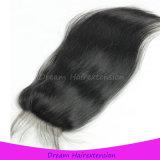 Волосы девственницы оптового закрытия шнурка перуанские людские