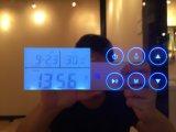 Cuarto de baño de acero inoxidable inteligente LED Espejo con Bluetooth de radio y reloj