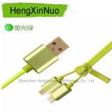 2 en 1 cable de datos de la cremallera del USB para los datos de carga del androide y de Apple