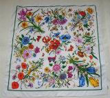 Шарф квадрата полиэфира Twill Flourish промотирования Silk имитационный (HWBS015)
