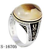 Caldo vendendo 925 anelli di pietra naturali degli uomini dell'anello d'argento