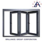 Portello di piegatura di vetro di alluminio di Frameless, portello Bi-Fold di alluminio di vetratura doppia